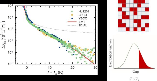 Paravodljivost dobivena odbijanjem otpora normalnog stanja Fermijeve tekućine od mjerene vodljivosti za nekoliko spojeva iz porodice kuprata. Crvena linija predstavlja predviđanje modela supravodljivih perkolacija u okviru teorije efektivnog medija. Shematski prikaz modela supravodljivih perkolacija kao 2D presjek punog 3D modela (u gornjem redu). Crveni dijelovi su supravodljivi, dok sivkasti dijelovi imaju otpornost normalnog stanja. Puna crta predstavlja Gaussovu raspodjelu lokalnih temperatura prijelaza.