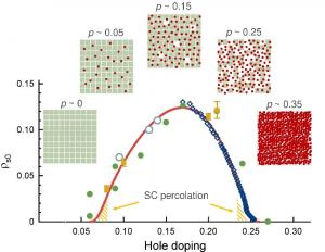 Slika 1 prikazuje eksperimentalnu i modeliranu ovisnost gustoće supravodljivih nosioca na 0 K u ovisnosti o koncentraciji šupljina u kupratima. Također je shematski prikazan proces postupne delokalizacije lokaliziranih nosioca s dopiranjem.