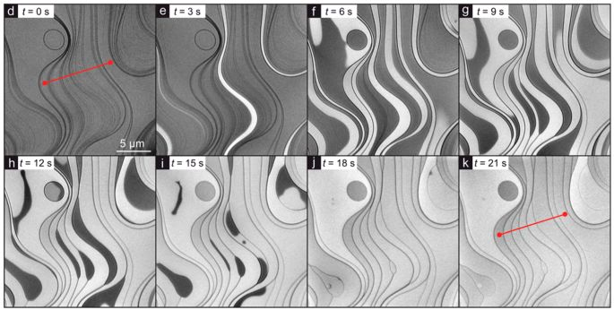 Figure 1. A sequence of LEEM images showing growth of a single-atom thick borophene layer (bright contrast) on the Ir(111) substrate (dark contrast)